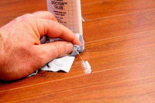 Пример использования замазки для ламината